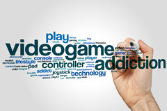 Videogame addiction word cloud. Concept on grey background Royalty Free Stock Images