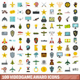 100 videogame award icons set, flat style. 100 videogame award icons set in flat style for any design vector illustration Royalty Free Stock Photography