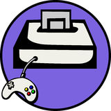 Videogame console with game. Vector file available. Illustration of a videogame console with a game cartridge and a joypad control. Vector file is available in Stock Photos