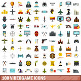 100 videogame icons set, flat style. 100 videogame icons set in flat style for any design vector illustration Royalty Free Stock Photography