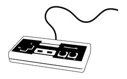 Videogame joypad for console. Illustration of a joystick / joypad in black and white. Brand removed Royalty Free Stock Photo