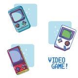 Videogame retro portable consoles. Vector illustration graphic design Stock Photos
