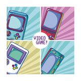 Videogame retro portable consoles. Vector illustration graphic design Royalty Free Stock Photography