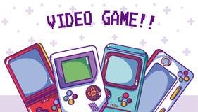 Videogame retro portable consoles. Vector illustration graphic design Royalty Free Stock Photo