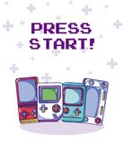 Videogame retro portable consoles. Vector illustration graphic design Royalty Free Stock Image