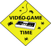 Videogame time sign. Illustration of a sign useful for videogame Stock Image