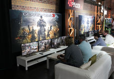 Videogamers and Gears of War 3 Stock Image