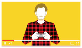Videogames παιχνιδιού νεαρών άνδρων στο βίντεο Στοκ Εικόνες