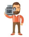 Videographer с его видео- камкордером Стоковая Фотография RF