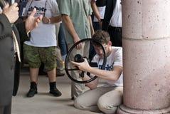 Videographer fångar den guvernörs- kandidaten Royaltyfria Foton