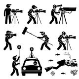 Videographer, Filmmaker, Cinematographer, and Cameraman. Shooting video footage and film production with big expensive video camera. Gears include 360 degree royalty free illustration