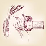 Videographer hand drawn vector llustration Stock Image