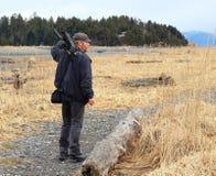 Videographer in het moerasland stock foto's