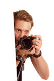 Videographer holds mobile camera on gimbal. Isolated on white Royalty Free Stock Photos