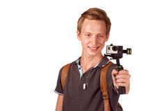 Videographer holds mobile camera on gimbal. Isolated on white Stock Photos