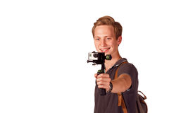 Videographer holds mobile camera on gimbal. Isolated on white Royalty Free Stock Photography