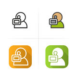 Videographer icon. Flat design, linear and color styles. Isolated  illustrations. Royalty Free Stock Image