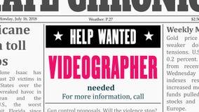 Videographer-Kleinanzeige vektor abbildung