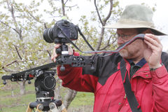 Videographer Shooting Nature. A videographer uses a portable dolly to record a scene in an orchard Stock Photo