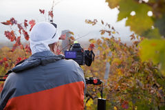 Videographer shoots at the camera. Videographer on a vineyard in autumn shoots video Royalty Free Stock Photos