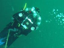 Videographer subacqueo Fotografia Stock