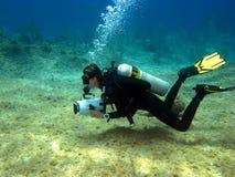 Videographer subaquático Fotografia de Stock