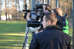 Videographers oversees training october football team dnepr dnepropetrovsk сity held an open session at their base royalty free stock photo