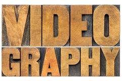 Videography word abstract in wood type. Videography word abstract - isolated text in letterpress wood type Stock Photo