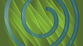 Videohintergrund der Zusammenfassung 3d mit der blauen Spirale, die auf grünem abstraktem Bereich sich verschiebt Blaue Spirale v vektor abbildung