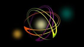 Videointro mit vibrierenden drehenden Ovalen und flackernden Lichtern, abstrakte Animation in der Laser-Showart stock video footage
