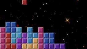 Videojuego de Tetris en estilo mordido del fondo 8 del espacio ilustración del vector