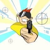 Videojuego del juego de Virtual Reality Cyber del control remoto del arma de la pistola del control de los vidrios de Digitaces d Foto de archivo libre de regalías