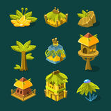Videojuego Forest Design Collection Of Elements tropical Foto de archivo libre de regalías