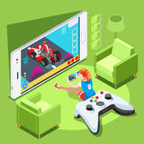 Videojuego Person Gaming Vector Illustration isométrico del ordenador Fotos de archivo libres de regalías