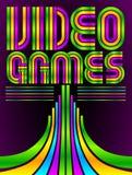Videojuegos - cartel - tarjeta - letras del vector Imagenes de archivo