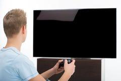 Videojugador con la palanca de mando. Foto de archivo libre de regalías