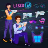 Videojugador en juego del carácter del jugador del vector de la etiqueta del laser en lasertag con el tiroteo del arma en el sist Fotografía de archivo libre de regalías