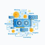 Videokaart Abstract Vectorteken, Symbool of Embleemmalplaatje De vlakke Stijlcrypto Hardware van de Muntgpu Bitcoin Mijnbouw Stock Foto