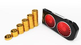 Videokaart en gouden bitcoinmuntstukken 3D Illustratie Royalty-vrije Stock Afbeeldingen