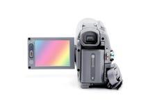 Videokamera mit geöffnetem Viewfinder Lizenzfreies Stockbild