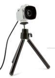 Videokamera som monteras på tripoden Royaltyfria Foton