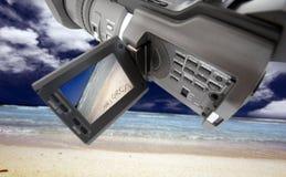 Videokamera am Strand lizenzfreie stockfotos