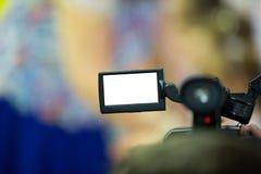 Videokameraskärm med vit isolerat område Fotografering för Bildbyråer