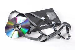 Videokaseta en schijf stock afbeelding