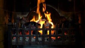 Videoklem van logboeken die in een traditionele open haard branden stock footage