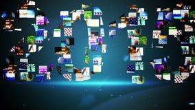 Videoklemmen die het bericht van 2015 vormen Stock Foto's