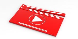 Videoklep op witte achtergrond 3D Illustratie Stock Afbeelding
