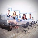 Videokonferensaffärslag Arkivfoto
