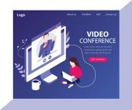 Videokonferenz mit einem Kunde isometrischen Grafik-Konzept stock abbildung