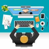 Videokonferenz- oder Videoanrufkonzeptillustration Lizenzfreie Stockfotografie